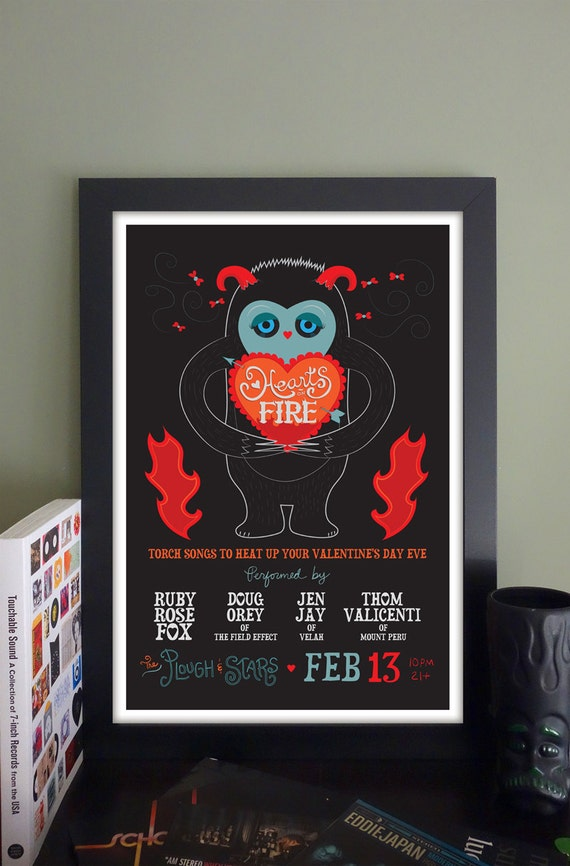 "Hearts on Fire Gig Poster // The Plough and Stars, Cambridge, MA 13""x19"""