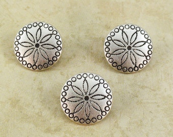 Concho Metal Buttons 15mm Antique Silver Southwestern Qty 3