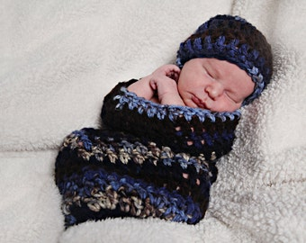 Baby cocoon, swaddle sack.  Photography prop or baby shower gift.  Handmade crochet - knit photography cocoon - swaddle sack prop.