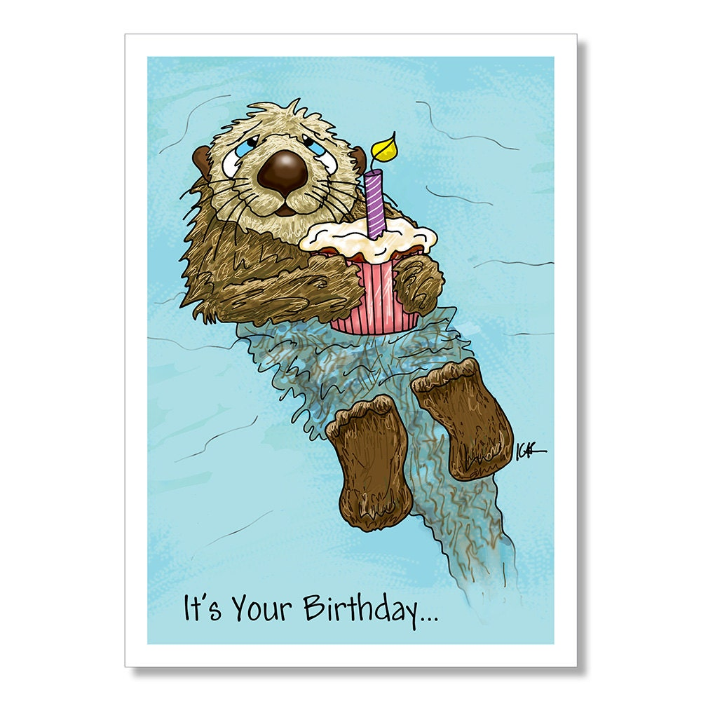 Otter Birthday Card Funny Birthday Card Cupcake Birthday