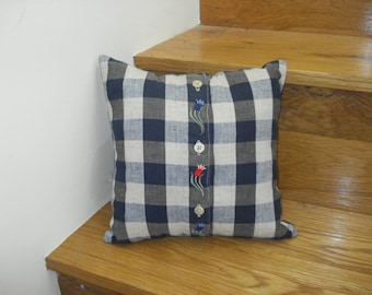 Blue, Gray, and Tan Checked 10x10 Pillow Cover Upcycled from a Woman's Shirt