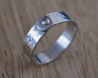 6) 5mm Polished, Textured Sterling Silver Rivet Ring