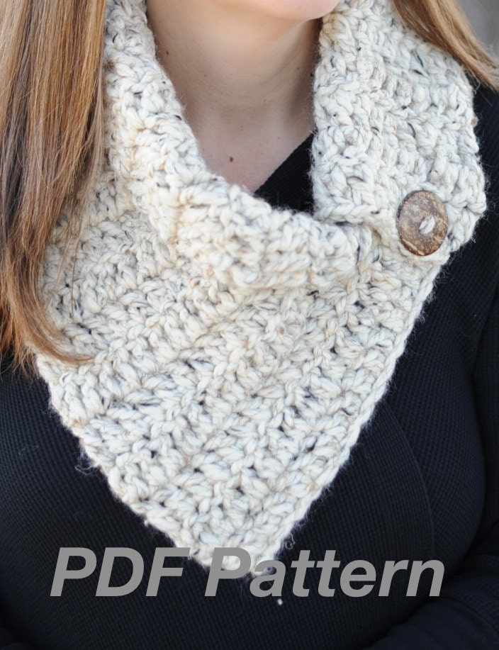Crochet Pattern Lora Cowl Scarf with Button