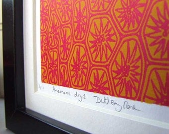 Hot Red Anemone screen print, small, abstract, modern art,  gift