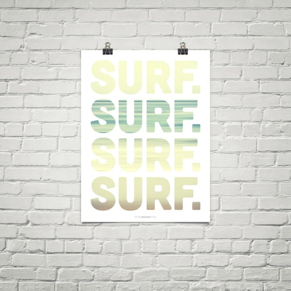 Surf Beach Bathroom Decor : Surf vintage invert large poster green by