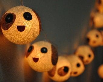 20 Cotton Ball String Lights Dog Lights for Kid bedroom birthday  light display garland decorations