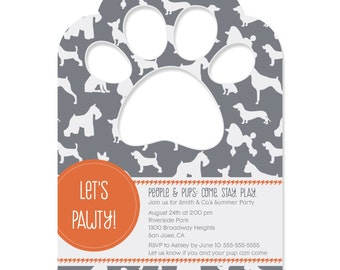 Dog Silhouettes Invitations - Dog Party Supplies - Set of 12