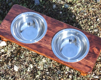SMALL Elevated Dog Bowl, Two 3/4qt ss bowls, U Pick Tint, 3.5,4,5,or 6inch tall, Cat Dish Holder, Raised Dog Feeder, Straight Edge Version