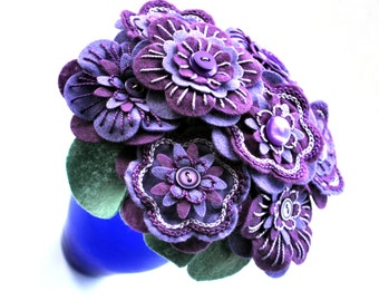 Handmade Purple Felt Button Flower Arrangement / Floral Gift / Wedding Flowers
