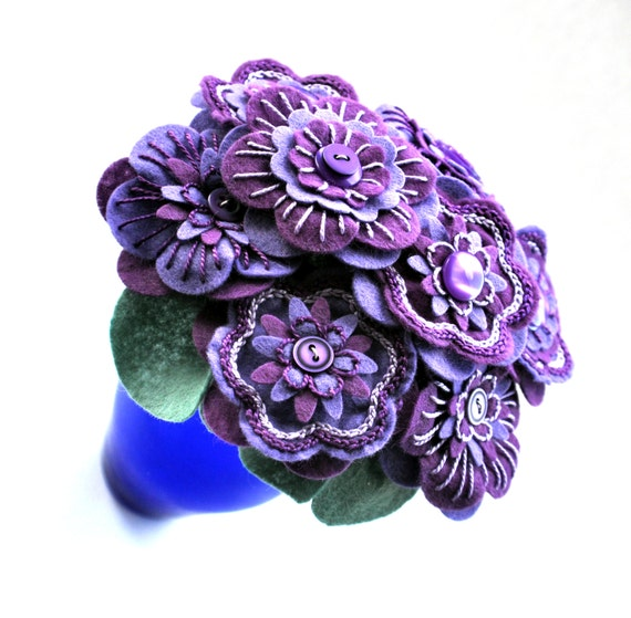 Handmade Purple Felt Button Flower Arrangement / Floral Gift