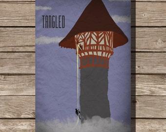 Disney Tangled movie poster rapunzel art print disney poster movie art fan art tower princess witch