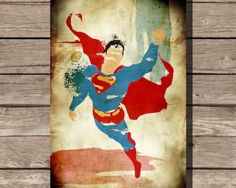 Superman splatter print movie poster art print Clark Kent comic book art fan art