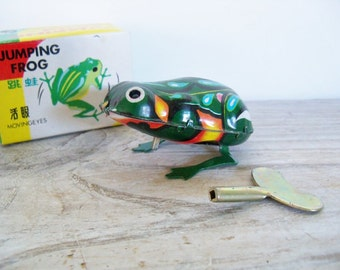 Vintage Tin Toy Jumping Frog Clockwork Litho Wind Up Toy Frog Tin Frog China MS 082 1970s