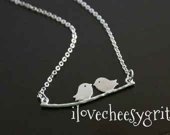 BIRDS ON A BRANCH~ Birds Necklace Bridesmaid Necklace Silver Birds Necklace Mother of the Bride Wedding Gift Maid of Honor ilovecheesygrits