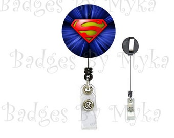 Retractable ID Badge Holder -Superman
