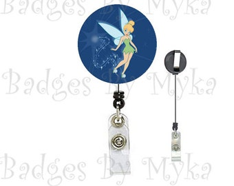 Retractable ID Badge Holder - Tinkerbell