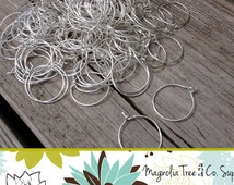 Wine Rings BULK 100 pcs DIY - Silver Plated Wine Glass Charm Rings, Earring Hoops 25x20mm, Bent End, Silver (WR 01-100)