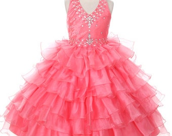 Girls Halter Neck Top Pageant Dress, pageant, dresses, tulle dresses, rhinestone decorated, coat, flower girl dress, special occasion dress