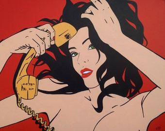 Girl comic acrylic on canvas. 92 x 73 cm. frame POP ART original and unique.