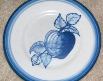 Vintage Original  Dorchester Stoneware Pottery Fruit Pattern Dinner Plate - Apple and Leaves Design