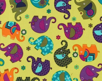 SALE! Elephant Romp Starfruit Michael Miller Cotton Fabric 120 cm