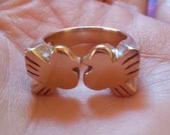 Handmade Bronze Lovebird Ring