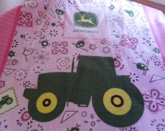 Pink John Deere Panel Anti-pill Fleece Blanket, 46 x 60