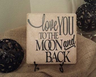 Vinyl Decal Quote Tile, Love You to the Moon and Back, Wedding Decor