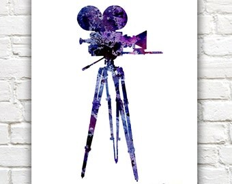 Vintage Movie Camera Art Print - Abstract Watercolor Painting - Wall Decor