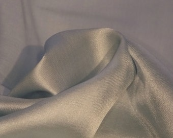 CLEARANCE - Light blue silk/cotton sateen fabric by the yard