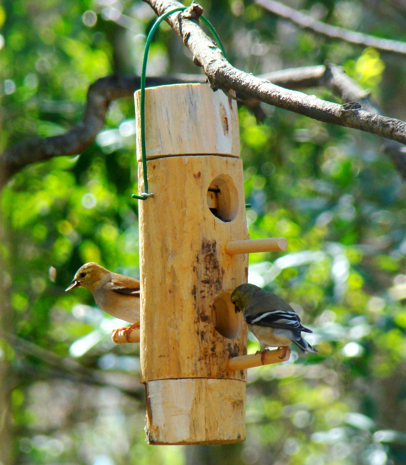 Hanging bird feeder mini is all wood and handmade this for Unique homemade bird feeders