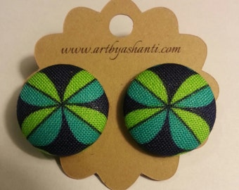 Windmill fabric button earrings