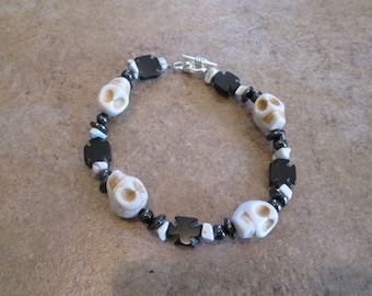 Crystal Skull Bracelet with Howlite and Hematite