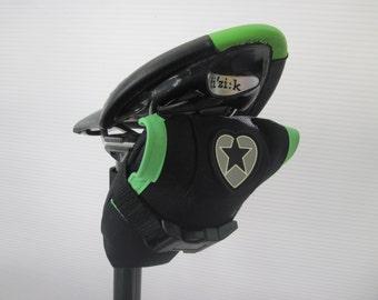 Black & Lime Green Cordura Saddle Pack