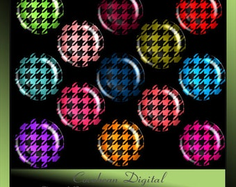 Digital Houndstooth 1inch circle button collage for Instant Download