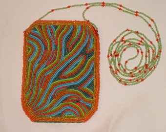 """Beaded Purse - """"Psychedelic River"""" (#021)"""
