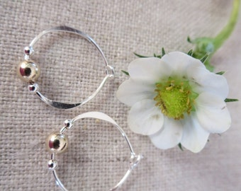 Petite Hoop in Sterling Silver or 14Kt Gold Filled with a 4mm bead of your choice