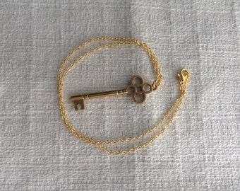 Steampunk Antiqued Gold Skeleton Key Necklace