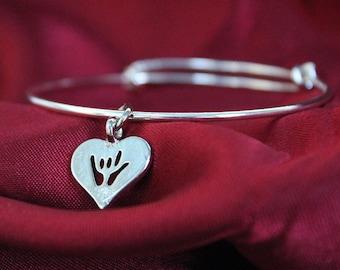 I Love You Sign Bangle Bracelet