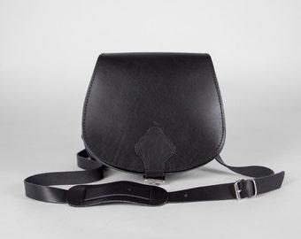 Cross Body Handmade Medium  leather bag Black color