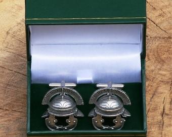 Roman Helmet Cufflinks Pewter UK Handmade Gift