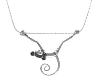 Toy Monkey Necklace - Silver