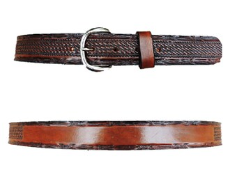 Personalized Leather Belt / Basketweave / Barbwire / Free name
