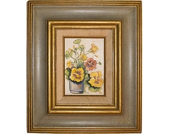 Vintage Oil Painting on Canvas Flower (Pansies)  Painting