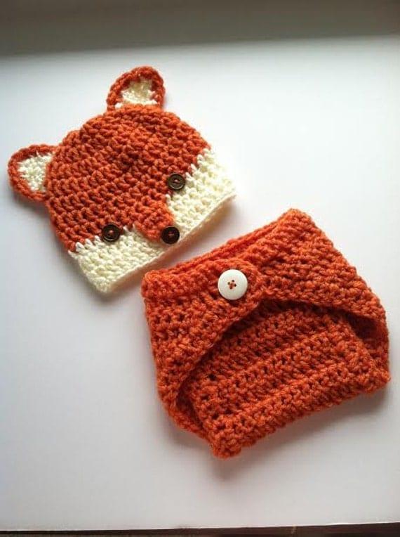 Free Crochet Fox Blanket Pattern : Fox Newborn Photo Prop Set by CatherinesNiche on Etsy