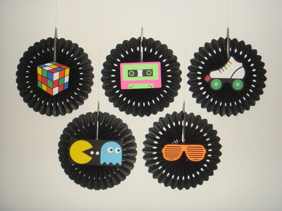 Retro 80s birthday party fan rosette wall decoration banner for Decoration 80 birthday