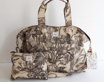 Diaper bag, school bag, toy bag, tote, messenger bag, travel bag, gym bag - Lotus print on 'Gorgia' bag