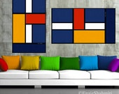 Color Squares Mondrian Inspired - Cubist Painting - ABSTRACTARTbyNC