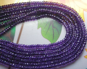 14 Inches Strands,Natural AMETHYST Faceted Rondelles, 3mm
