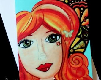 Fairy Cards, Note Cards, Artist cards, handmade item, original art, A7, 5x7 cards, Topaz
